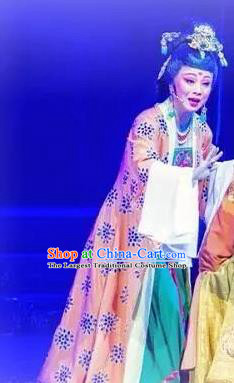 Chinese Shaoxing Opera Queen Dress Apparels Costumes and Hair Accessories Cang Sheng Yue Opera Noble Empress Garment