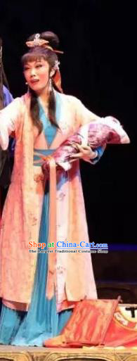 Chinese Shaoxing Opera Young Lady Dress Apparels Costumes and Hair Accessories Cang Sheng Yue Opera Seamstress Mo Huilan Garment
