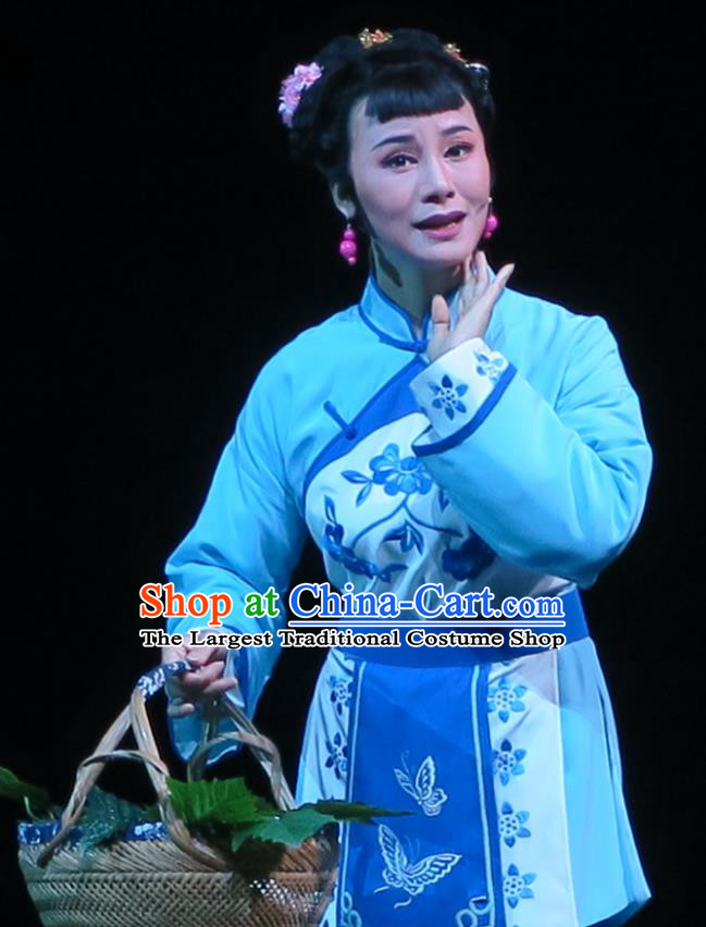 Chinese Shaoxing Opera Village Girl Costumes and Headpieces Wu Gu Niang Yue Opera Young Lady Garment Apparels