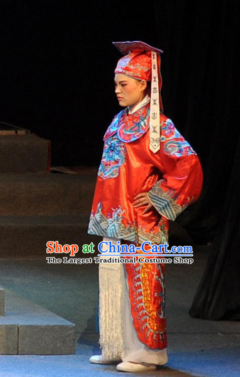 Chinese Yue Opera Wusheng Martial Male Qing Jian Fan Ying Apparels and Headwear Shaoxing Opera Bodyguard Costumes Garment