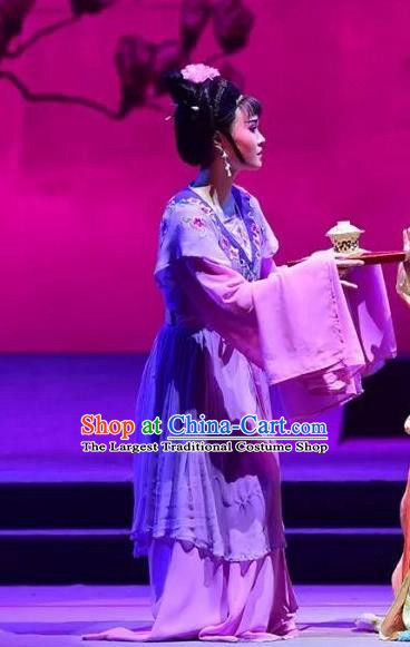 Chinese Shaoxing Opera Xiaodan Purple Dress Costumes and Headpieces Hu Po Yuan Yue Opera Servant Girl Garment Apparels