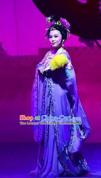 Chinese Shaoxing Opera Elderly Dan Dress Costumes and Headpieces Hu Po Yuan Yue Opera Garment Countess Noble Dame Apparels