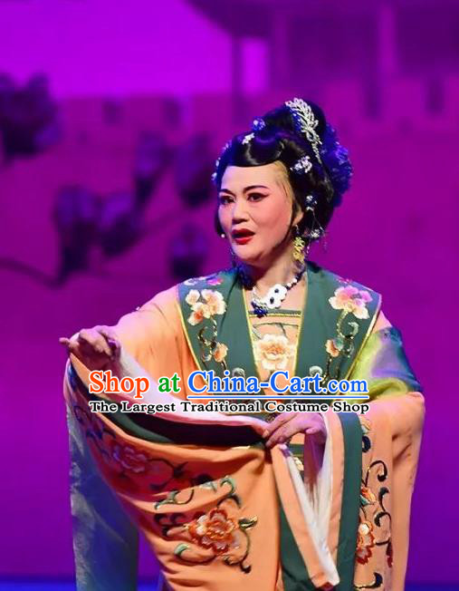 Chinese Shaoxing Opera Countess Dress Costumes and Headpieces Hu Po Yuan Yue Opera Garment Elderly Female Apparels