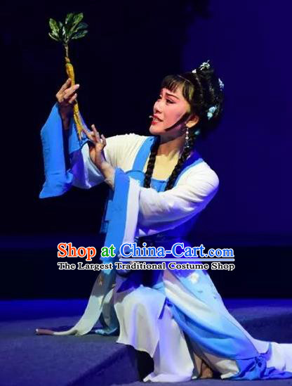 Chinese Shaoxing Opera Village Girl Blue Dress Costumes and Headpieces Hu Po Yuan Yue Opera Country Woman Jin Sulan Garment Apparels