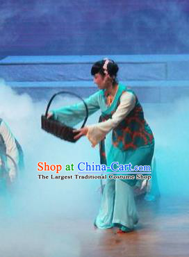 Chinese Shaoxing Opera Xiaodan Dress Costumes and Headpieces Qiong Nu Yu Tiao Lang Yue Opera Young Lady Garment Apparels