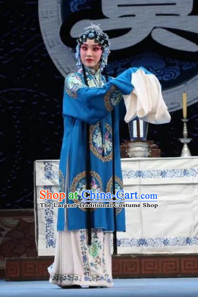 Chinese Shaoxing Opera Actress Mu Guiying Dress Costumes and Headdress Bai Sui Gua Shuai Yue Opera Young Female Garment Apparels