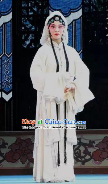 Chinese Shaoxing Opera Distress Maiden White Dress Apparels Costumes and Headdress Bai Sui Gua Shuai Yue Opera Actress Mu Guiying Garment