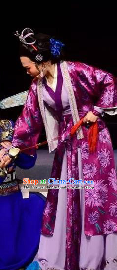 Chinese Shaoxing Opera Elderly Female Apparels Costumes and Headpieces Fang Cao Meng Yue Opera Laodan Purple Dress Garment