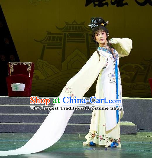Chinese Shaoxing Opera Actress Zhen Sixue Dress Garment Apparels and Headdress Lian Sheng San Ji Yue Opera Hua Tan Costumes