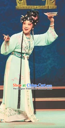 Chinese Shaoxing Opera Actress Noble Lady Green Dress Garment Apparels and Headdress Lian Sheng San Ji Yue Opera Young Female Costumes