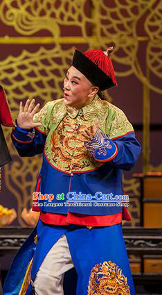 Chinese Yue Opera Court Eunuch Garment Costumes and Headwear Shaoxing Opera Lu Ding Ji Young Male Wei Xiaobao Official Apparels Vestment