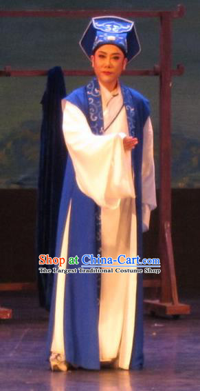 Huang Dao Po Chinese Yue Opera Young Man Garment Costumes and Headwear Shaoxing Opera Scholar Robe Apparels