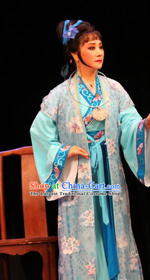 Chinese Shaoxing Opera Female Weaver Dress Apparels and Headpieces Huang Dao Po Yue Opera Middle Age Woman Garment Costumes