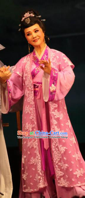 Chinese Shaoxing Opera Elderly Female Weaver Dress Apparels and Headpieces Huang Dao Po Yue Opera Garment Costumes