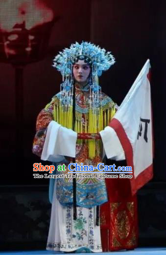 Chinese Shaoxing Opera Hua Tan Mu Guiying Apparels Costumes and Headdress Bai Sui Gua Shuai Yue Opera Actress Ceremonial Robe Garment