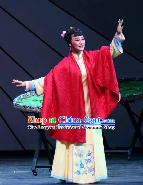 Chinese Shaoxing Opera Young Lady Yellow Apparels Costumes and Headdress Wu Gu Niang Yue Opera Actress Garment