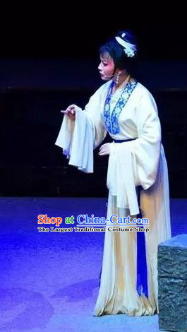 Chinese Shaoxing Opera Young Woman White Dress Apparels Costumes and Headpieces Yue Opera Mrs Dayi Actress Garment