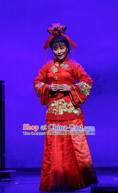 Chinese Shaoxing Opera Young Mistress Rui Jue Red Dress Apparels Costumes and Headdress The Family Yue Opera Bride Wedding Garment