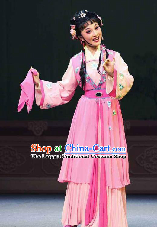 Chinese Shaoxing Opera Young Lady Pink Dress Apparels Costumes and Headpieces Chun Cao Yue Opera Servant Girl Garment