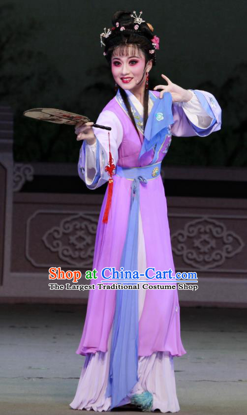 Chinese Shaoxing Opera Rich Female Li Banyue Purple Dress Apparels Costumes and Headpieces Chun Cao Yue Opera Hua Tan Garment