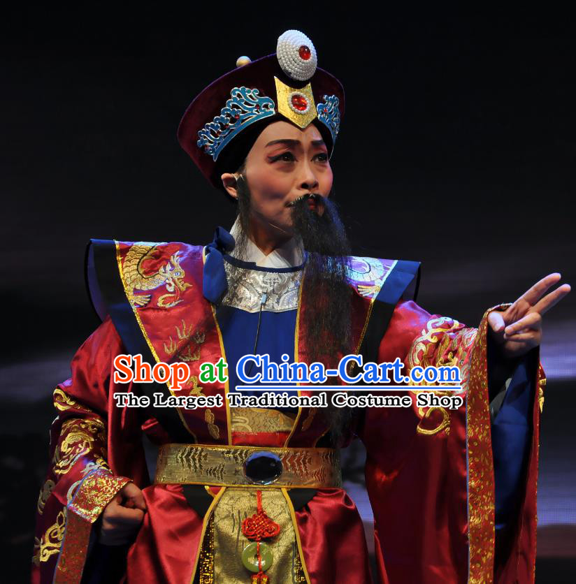 Chinese Yue Opera Cleanhanded Fan Ying Elderly Male Apparels Costumes and Headwear Shaoxing Opera Laosheng Chieftain Garment