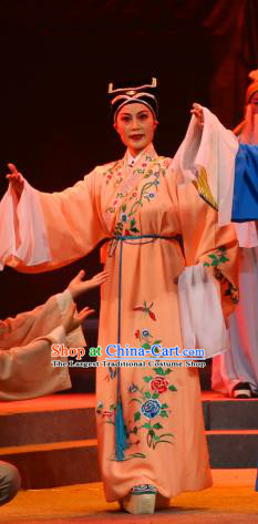 Chinese Yue Opera Young Male Xu Jichang Qing Jian Fan Ying Apparels and Headwear Shaoxing Opera Xiaosheng Costumes Scholar Garment