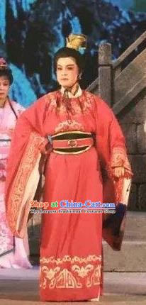 Xu Fu Dong Du Chinese Yue Opera Niche Prince Red Garment Costumes and Headwear Shaoxing Opera Xiaosheng Young Male Apparels