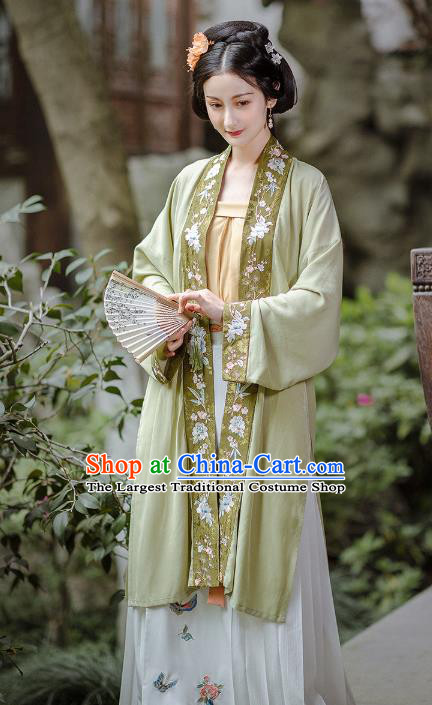 Chinese Song Dynasty Noble Female Embroidered Historical Costumes Traditional Hanfu Dress Ancient Young Lady Garment