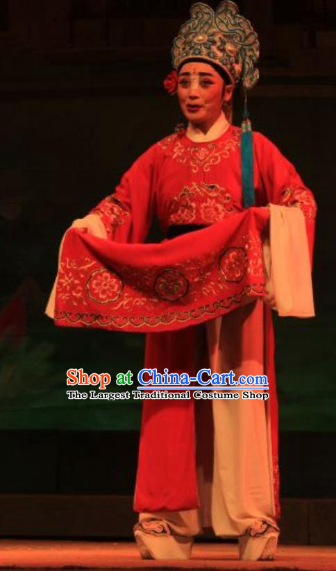 Yi Jian Zhong Qing Chinese Yue Opera Xiaosheng Garment Costumes and Headwear Shaoxing Opera Young Male Scholar Yan Jun Apparels