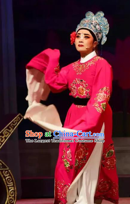 Yi Jian Zhong Qing Chinese Yue Opera Bully Yan Jun Garment and Headwear Shaoxing Opera Xiaosheng Young Male Apparels Costumes