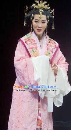 Chinese Shaoxing Opera Actress Yang Yunwan Pink Dress Apparels Costumes and Headpieces Chuan Qi Lang Zi Yue Opera Diva Noble Lady Garment
