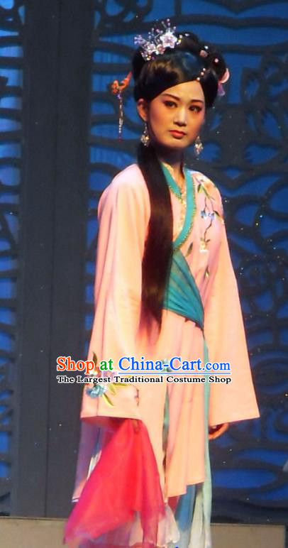 Chinese Shaoxing Opera Vixenish Woman Yin Xuemei Apparels Costumes and Headpieces Yue Opera Xi Xin Ji Country Hua Tan Dress Garment