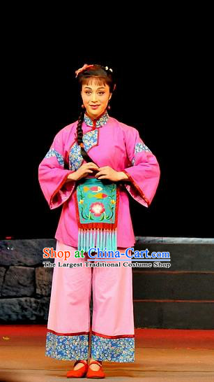 Chinese Shaoxing Opera Country Lady Qiu Hua Costumes and Headdress Yue Opera Liu Hua Xi Young Girl Dress Garment Apparels