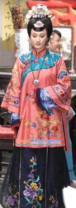 Chinese Shaoxing Opera Noble Female Apparels Costumes and Headdress Yue Opera Liu Hua Xi Dress Young Mistress Garment