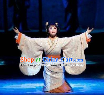 Chinese Shaoxing Opera Young Lady Apparels Costumes and Headpieces Yue Opera Actress Ban Zhao Hanfu Dress Garment
