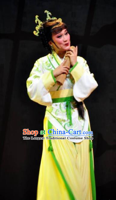 Chinese Shaoxing Opera Diva Apparels Costumes and Headpieces Yue Opera Young Lady Ban Zhao Yellow Dress Garment