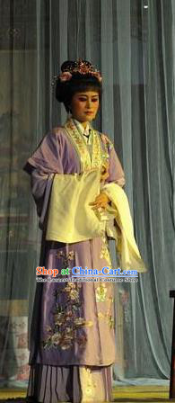 Chinese Shaoxing Opera Hua Tan Costumes Apparels and Headpieces Yue Opera Actress Purple Dress Garment