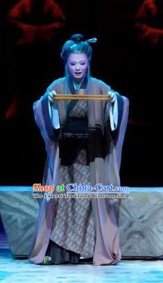 Chinese Shaoxing Opera Elderly Poor Female Apparels Costumes and Headpieces Yue Opera Old Dame Ban Zhao Dress Garment
