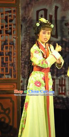Chinese Shaoxing Opera Xiaodan Costumes Apparels and Headpieces Yue Opera Servant Girl Dress Garment