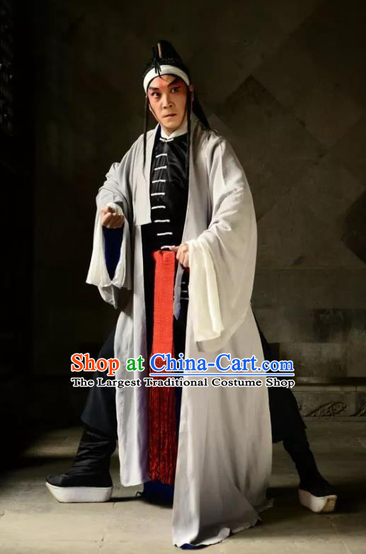 Heros Chinese Kun Opera Martial Male Garment Apparels Clothing and Headwear Kunqu Opera Swordsman Wu Song Costumes
