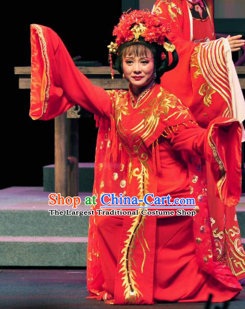Chinese Shaoxing Opera Actress Wedding Red Dress Apparels Costumes and Headdress Yue Opera Zhang Lun Hua Tan Garment