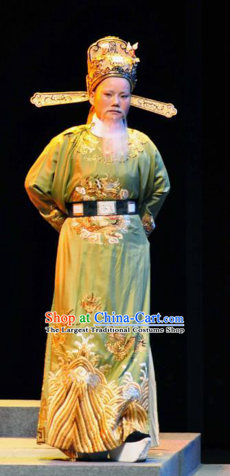 Chinese Yue Opera Elderly Male Garment and Headwear Shaoxing Opera Laosheng Costumes Official Clothing