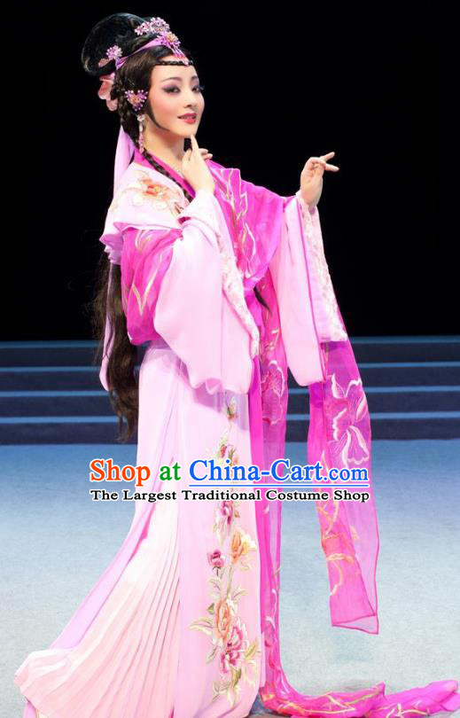 Chinese Shaoxing Opera Hua Tan Apparels Costumes and Headpieces Yue Opera Young Female Actress Pink Dress Garment