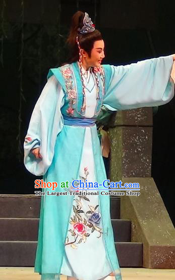 Mei Long Zhen Chinese Yue Opera Young Male Garment and Headwear Shaoxing Opera Noble Prince Blue Costumes