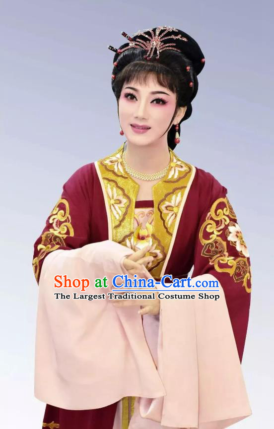 Chinese Shaoxing Opera Actress Fengxue Hanmei Li Sanniang Dress Costumes and Headpieces Yue Opera Young Female Garment Apparels