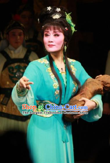 Chinese Shaoxing Opera Distress Maiden Fengxue Hanmei Li Sanniang Green Dress Costumes and Headpieces Yue Opera Actress Garment Apparels