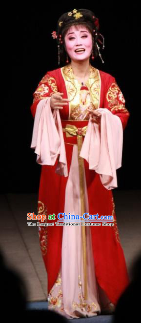 Chinese Shaoxing Opera Dan Role Fengxue Hanmei Li Sanniang Red Dress Costumes and Headpieces Yue Opera Actress Diva Garment Apparels
