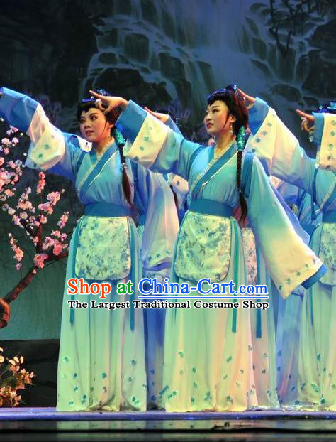 Chinese Shaoxing Opera Young Lady Blue Dress Costumes Apparels and Headpieces Hua Xi Love Song Yue Opera Xiaodan Garment