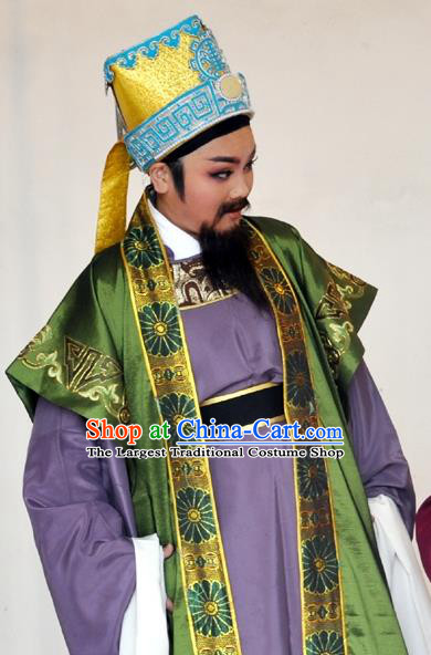 Hua Xi Love Song Chinese Yue Opera Ministry Councillor Garment Apparels Clothing and Headwear Shaoxing Opera Laosheng Landlord Costumes