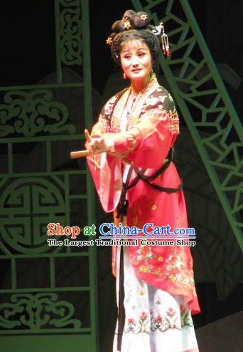 Chinese Shaoxing Opera Servant Girl Qiu Xiang Dress Costumes and Headpieces Three Charming Smiles Yue Opera Young Lady Garment Apparels